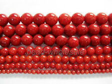 New Red Natural Coral Gemstone Round Spacer Beads 16'' 4/6/8/10/12MM