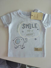 NEXT MY MUMMY SAYS SMILE & BE HAPPY Little Blue T-Shirt Up to 1 Month NWT