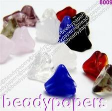 28 - 100 Glass Beads Small Drop Flower Bell 7mm x 9mm Many Colours 8009
