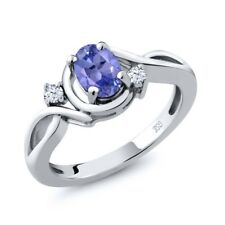 0.90 Ct Natural Oval Blue Tanzanite and White Topaz Sterling Silver Ring