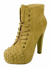 Prius! Spike Studded Lace-Up Platform Ankle Bootie Thick Heel Light Taupe