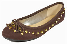 DRIVE! City Classified Women's Classic Bow Gold Spike Studded Ballet Flats