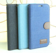 For Samsung Galaxy Mega 5.8 i9150 Jeans Denim Cloth Leather Case Wallet Cover