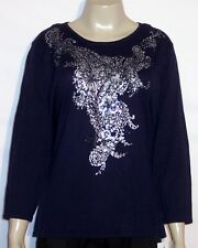 NWT Alfred Dunner 3/4 Sleeve Pullover Decorative Sweater Top S M L Indigo Blue