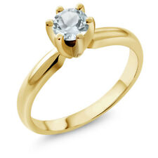 0.45 Ct Round Sky Blue Aquamarine 925 Yellow Gold Plated Silver Ring