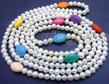 "SALE Long 60"" natural 6-7mm white pearl &Multicolor Oval Turquoise necklace-5752"
