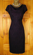 NEW LADIES MONSOON BLACK PURPLE JACQUARD VINTAGE 50s STYLE PARTY OFFICE DRESS