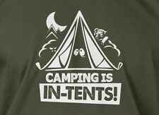 White Ink Camping Is In Tents Funny Shirt Mens Ladies Hiking Camp Geek T-shirt