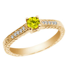 0.34 Ct Round Canary and White Diamond 925 Yellow Gold Plated Silver Ring