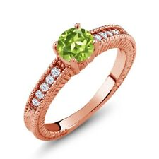 1.10 Ct Round Green Peridot White Topaz 925 Rose Gold Plated Silver Ring