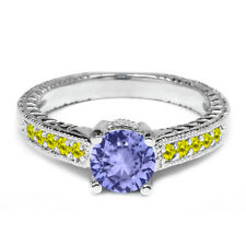 1.07 Ct Round Blue Tanzanite Canary Diamond 14K White Gold Engagement Ring
