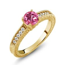 1.10 Ct Pink Mystic Topaz White Sapphire 925 Yellow Gold Plated Silver Ring