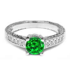 1.60 Ct Green Simulated Emerald White Sapphire 14K White Gold Engagement Ring