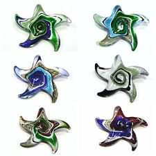 1 x 55mm Handmade Lampwork Glass Starfish Pendant Necklace ** PICK COLOUR **