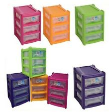 A4 SIZE DRAWER SHALLOW PLASTIC STORAGE UNITS TOWER HOME OFFICE FUNKY PINK ORANGE