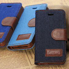 NEW STAND JEANS DENIM CLOTH LEATHER CASE COVER WALLET FOR APPLE IPHONE 4 4G 4S