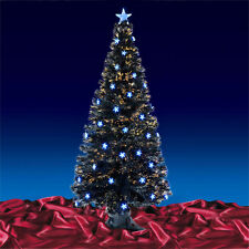 Black Fibre Optic Artificial Indoor Christmas Tree Blue Stars 3ft 4ft 5ft or 6ft