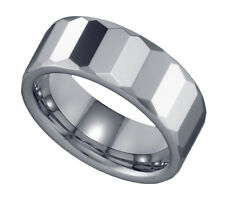 Mens Shiny Tungsten Faceted Wedding Band Ring 8mm Sz 7-14