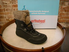 Orthaheel Emma Black Fur Collar Comfort Ankle Boot NEW