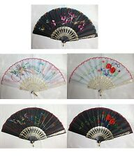 chinese embroidery pattern cloth folding hand fan  black & white