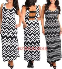 SeXy Women Plus Size Chevron ZIgZag MaXi Striped Backless Slit sun dress 1X-3X