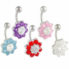 surgical steel belly rings button jewellery crystal navel bars piercing gem 9LYJ