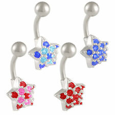 Crystal heart belly ring navel bars balls button piercings surgical steel 9LYP
