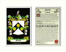 BOND Family Coat of Arms Crest + History - Available Mounted or Framed