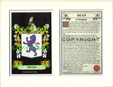 DEAN Family Coat of Arms Crest + History - Available Mounted or Framed