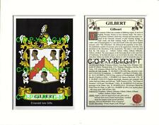 GILBERT Family Coat of Arms Crest + History - Available Mounted or Framed