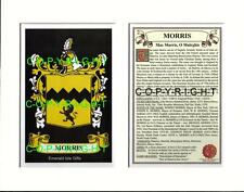 MORRIS Family Coat of Arms Crest + History - Available Mounted or Framed