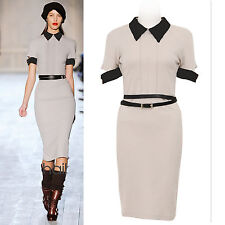 Newest Beigee Back Open MILITARY  Celebrity Victoria Style Posh Dress