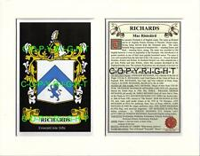 RICHARDS Family Coat of Arms Crest + History - Available Mounted or Framed