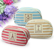 New Stripe Navy Style Makeup Bag Pencil Case Cosmetic Glasses Pouch Purse Canvas