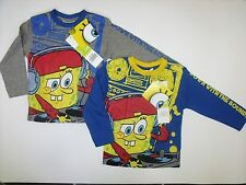 Kids Long Sleeve Character Top Boys Printed Spongebob Shirts Size 2-8Years