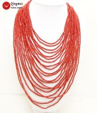 """SALE Luxury 20 Strands 3-4 MM Red Round High Quality Coral 18-27"""" Necklace-n5769"""