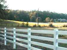 White and Tan Vinyl Horse Fence 496 feet BOTH 3 and 4 Rail Vinyl Fence