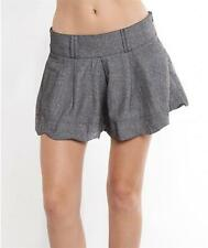 Sexy Grey Linen Preppy Pleated High Waisted 80'S Tailored Causel Shorts New