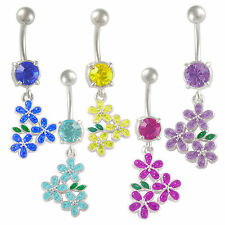 Surgical steel belly rings button jewellery navel bars piercing crystal gem 9LZI