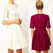 Women Lady Dress Floral Lace Round Neck Party Prom Slim Skater Dress ON SALE