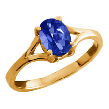 0.95 Ct Oval Blue Sapphire Mystic Topaz Yellow Gold Plated Silver Ring