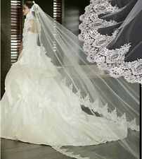 1T Classic Cathedral White/Ivory Elegant Lace Edge Long Wedding Veil Accessories