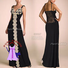 Sexy Spaghetti Strap Black Lace Party Evening Formal Maxi Long Dress UK 8-18