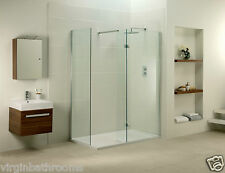 BATHROOM SHOWER ENCLOSURE WALK IN WET ROOM GLASS CUBICLE SIDE PANEL TRAY