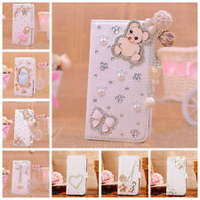 Bling Diamond Flip Magnetic PU Leather Wallet Case Cover for iPhone 4 4S + Gifts