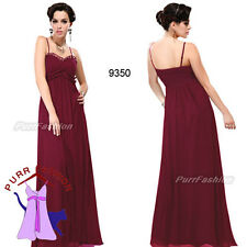 Dark Red Spaghetti Ruffles Strap Maxi Chiffon Evening Long Bridesmaid Dress 8-18