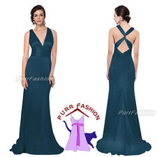 Elegant Malachite Green V-Neck Cross Back Maxi Empire Evening Long Dress 6-14