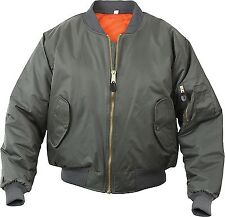 Olive Drab Military Air Force MA-1 Reversible Bomber Coat Flight Jacket