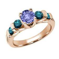 1.78 Ct Round Blue Tanzanite Diamond 14K Rose Gold Ring