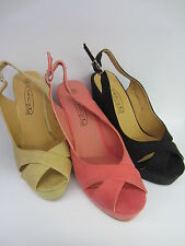 Spot On F10135 Ladies Peep Toe Wedges Available in 3 Colours ~ Sale